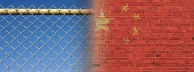 Montage from fence to China flag