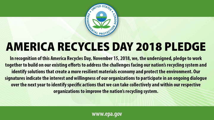 America Recycles Day Pledge graphic